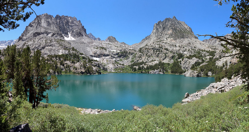 Panorama from the north shore of Fifth Lake with Mount Robinson and Two Eagle Peak