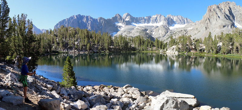 Panorama shot from the northern shore of Summit Lake toward the fourteeners and the Palisade Glacier