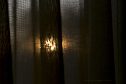 The setting sun, beyond the curtains