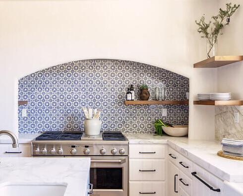 Decorative Tile Kitchen Hearth