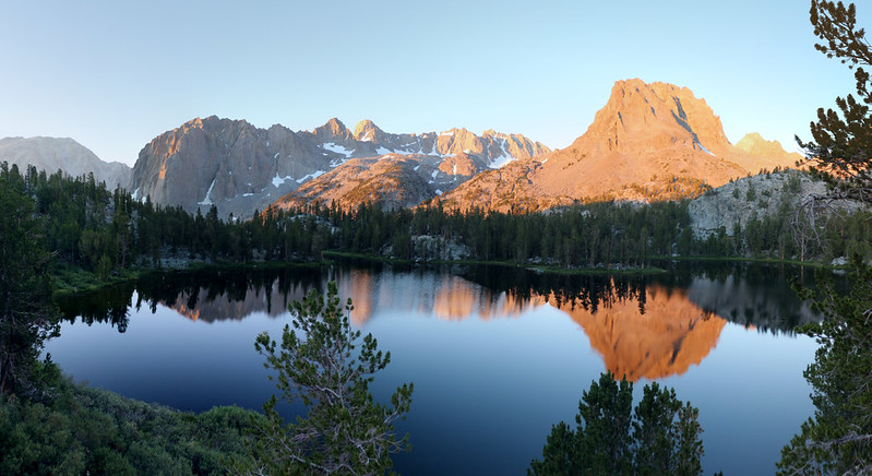 The morning light on Fourth Lake, Temple Crag, Sill, North Palisade, Thunderbolt, Robinson, and Aperture Peak
