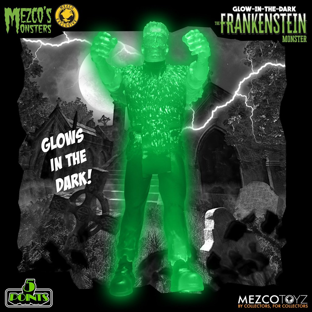 MEZCO TOYZ 5 POINTS系列【夜光版 科學怪人】3.75吋吊卡玩具