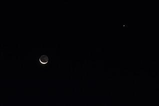 Crescent Moon, Earthshine and Venus - taken October 14 before sunrise