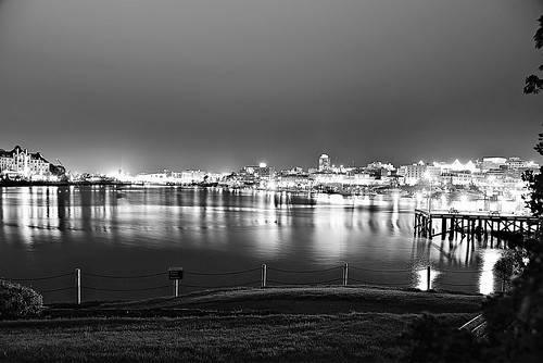 Victoria BC inner harbour at midnight