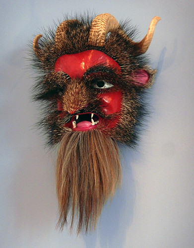 Folk art mask with fur, horsehair and horns in the Puebla Museum in Mexico