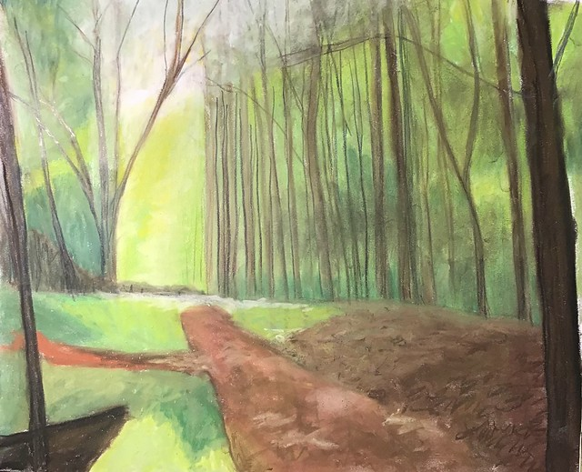 """Forest Walk""  wip  Soft pastel, colored pencil and sidewalk chalk on paper 14 x 17 inches."