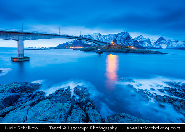 Norway - North of the Arctic Circle - Lofoten Island - Moskenes - Bridge at Hamnoy at Dusk - Twilight - Blue Hour - Night