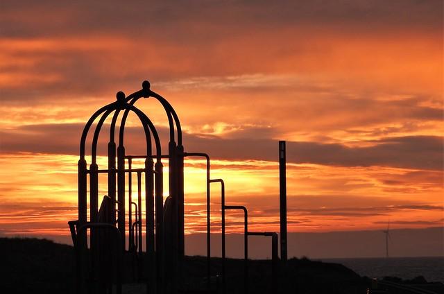 Play Park Silhouettes at Sunrise - Newbiggin
