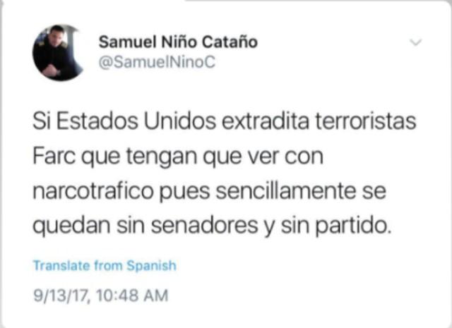 El 13 de septiembre de 2017, en su condición de activista del Centro Democrático, el piloto del Cartel de Sinaloa advierte que de ser extraditados los líderes de la desaparecida guerrilla de las FARC, su nuevo partido político se quedaría sin congresistas