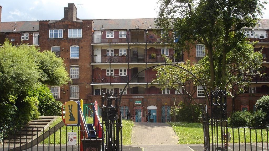 housing estate with children's playground