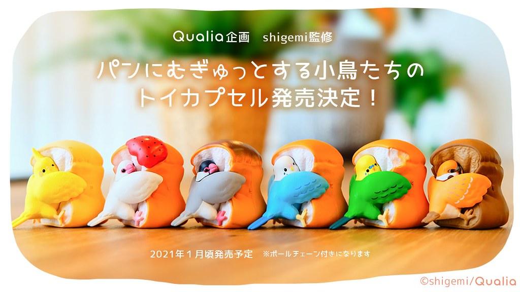 鳥奴整套包軌~Qualia「抱緊處理的小鳥」吊飾轉蛋 激萌撲進麵包裡!