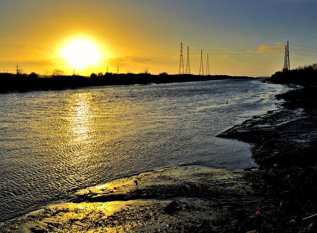 Sunset shine over the river at Preston