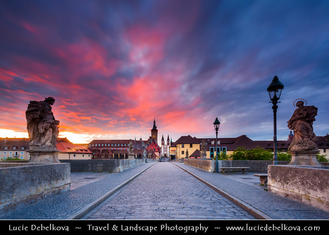 Germany - Würzburg - Würzburg's Old Main Bridge - Alte Mainbrücke at Sunrise