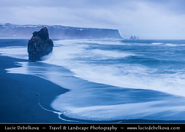 Iceland - Vik i Myrdal Area - Reynisdrangar - Rock Formation on the Beach of Atlantic Ocean at Dramatic Sunset