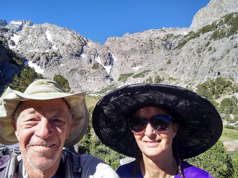 We took a double-selfie from the Glacier Trail with Sam Mack Meadow behind us