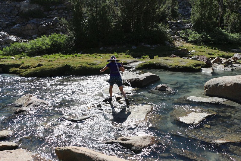 Vicki crossing the creek at Sam Mack Meadow as we head up the Palisade Glacier Trail