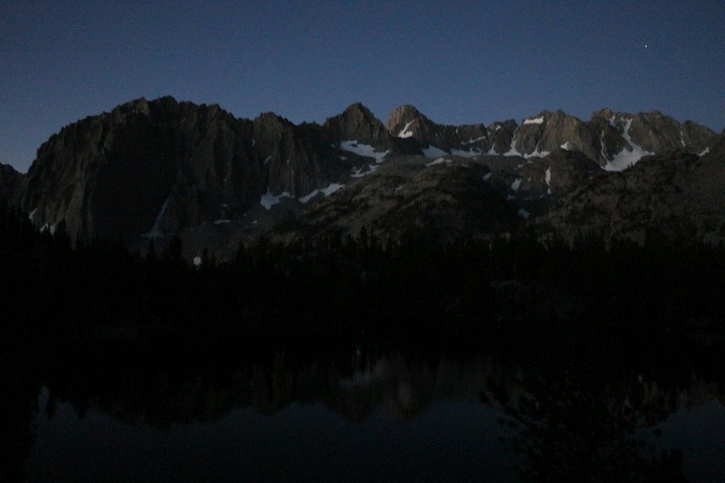 Dawn alpenglow on the Sierra Crest from our campsite at Fourth Lake looking toward the Palisade Glacier