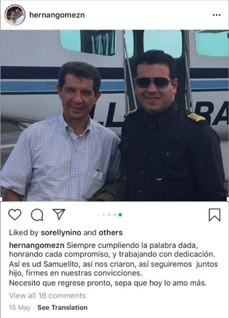 """El presidente de Fedegán, José Félix Lafaurie, en compañía del piloto del Cartel de Sinaloa, en una fotografía compartida por el hermano del narcotraficante lamentando su """"desaparición""""."""