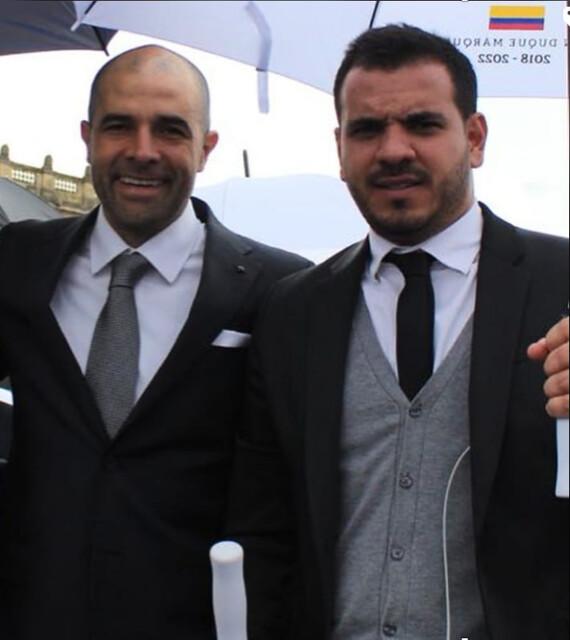El ex candidato a la Gobernación de Antioquia por el Centro Democrático, Andrés Guerra Hoyos, con el piloto del Cartel de Sinaloa.