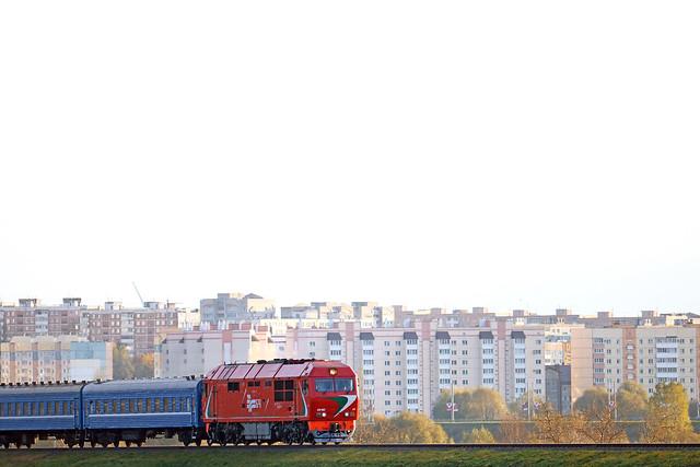Пассажирский тепловоз ТЭП70БС-175 на перегоне Луполово/Могилёв-3.