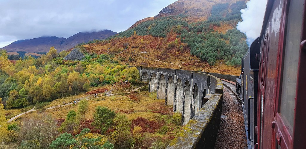 Black 5 45407  Lancashire Fusilier passes over the fabulous Glenfinnan Viaduct with The Jacobite steam train from Fort William
