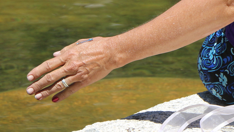 A dragonfly landed on Vicki's outstretched hand while she sat on the boulder at Fourth Lake