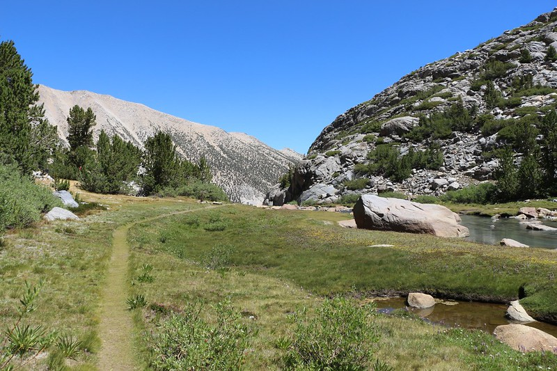 The big boulder on the right is a major hangout spot for hikers arriving in Sam Mack Meadow