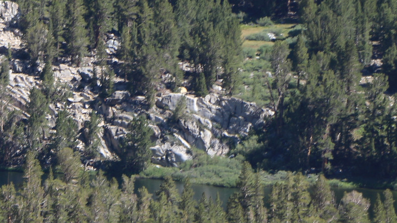 Zoomed-in view of our tent at Fourth Lake, that yellowish hemisphere on top of the granite, above and left of center