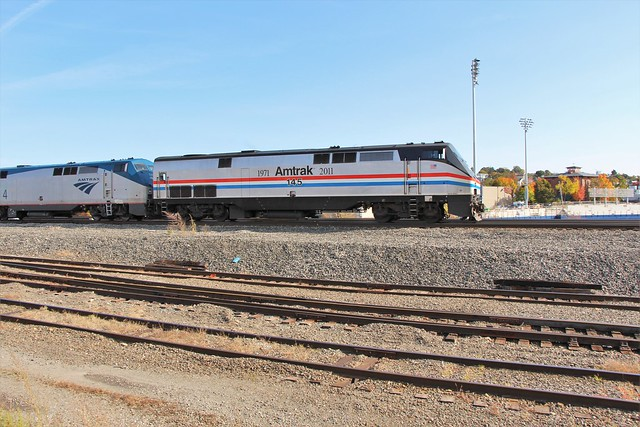 Lakeshore Limited leaving Worcester with Heritage Locomotive