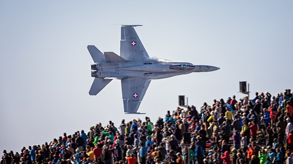Boeing F/A-18 Hornet wowing the crowd at Tschingl during the Axalp Live Firing Demo in 2018