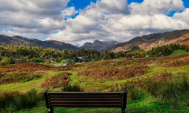 Autumn colours, with a view of Elterwater village