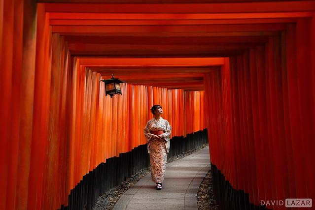 Lady in Kimono and Torii Gates
