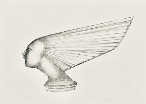 Deco glass car mascot. Drawing by jmsw, using Rotring T 0.5. Pencil on card.
