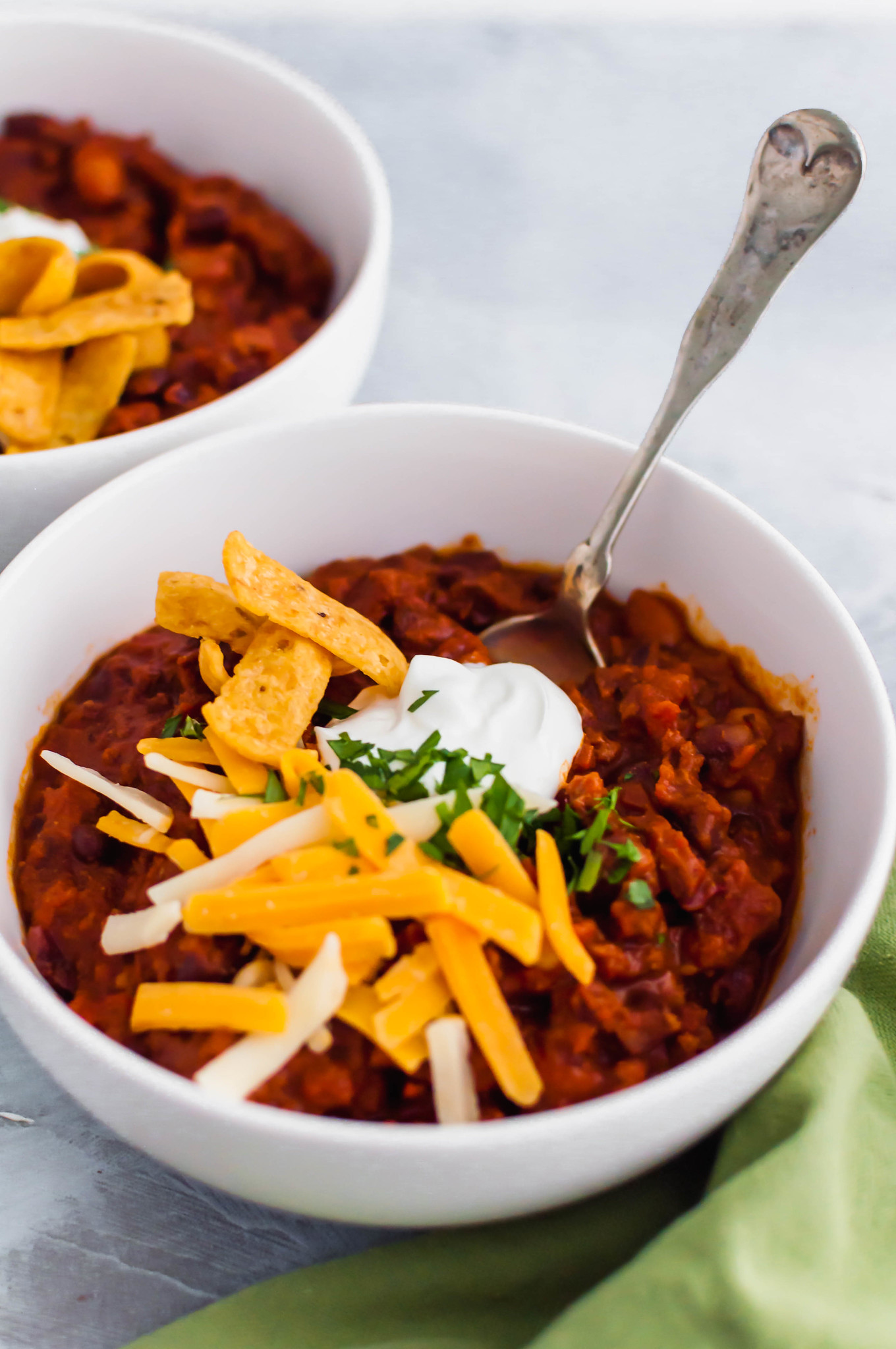 Chili season is upon us and this Chipotle Chili is my favorite. It's the perfect amount of hearty, smoky and spicy all in one bowl.