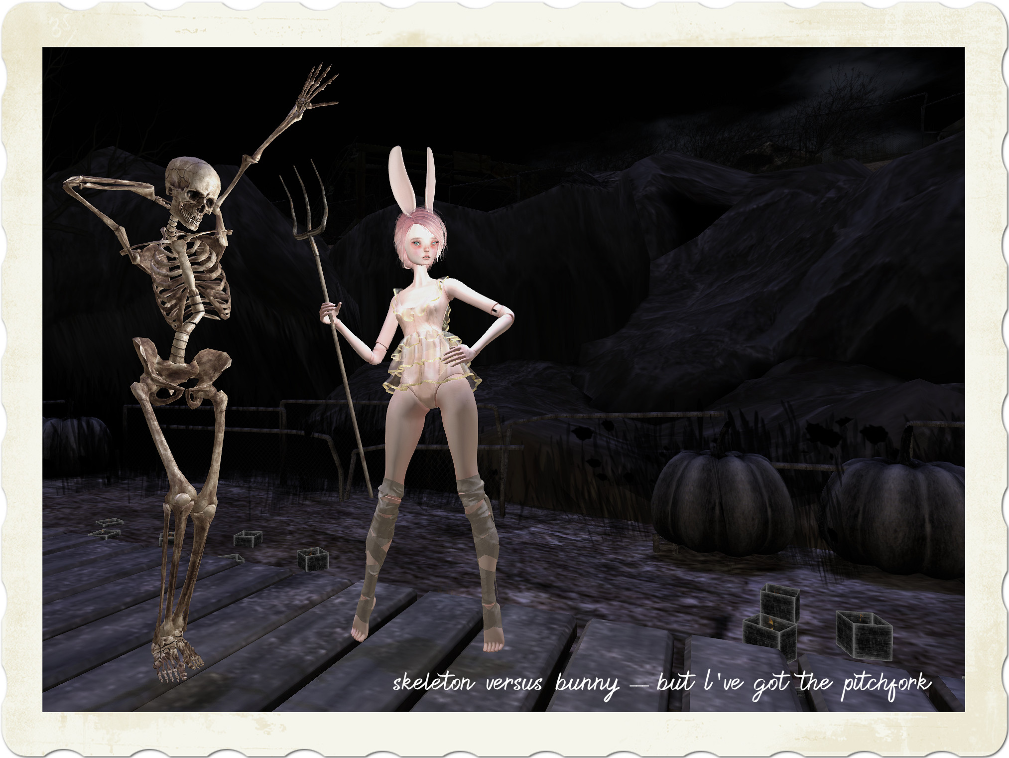 skeleton versus bunny