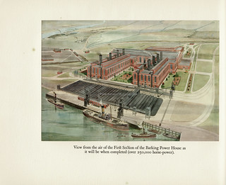 County of London Electric Supply Company - opening of the new power house at Creekmouth, Barking, by HM King George V, 19 May 1925 - view from the air showing first section; plate by Norman Howard.