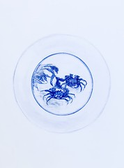 Study of Crab & Millet Dish. Qing Dynasty. Coloured Polychromos pencil drawing by jmsw.
