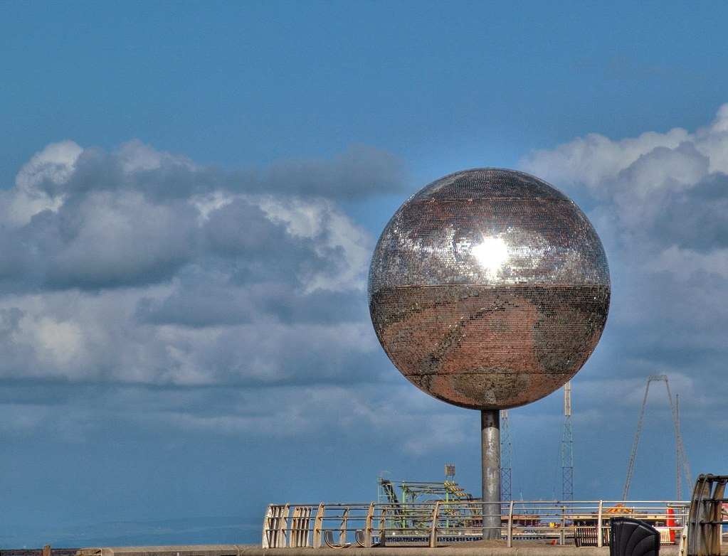 Huge glitter ball in Blackpool