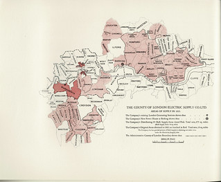 County of London Electric Supply Company - opening of the new power house at Creekmouth, Barking, by HM King George V, 19 May 1925 - map showing areas of supply
