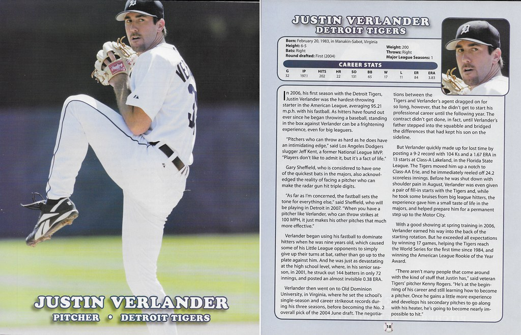 2007 Baseball Superstars Album Posters (Justin Verlander)