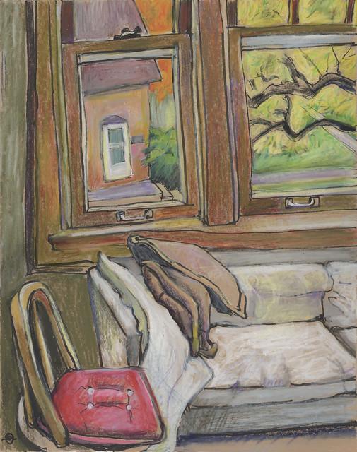 Red Cushion Inside, Autumn Outside
