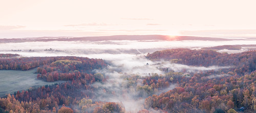 drone aerial colors fog morning