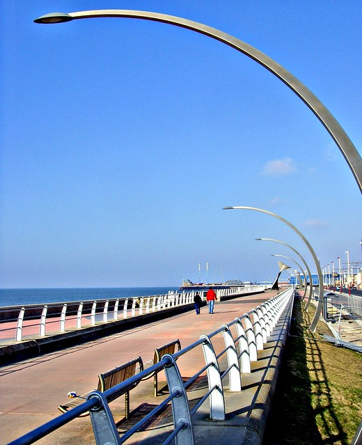 Curved lamps over the prom