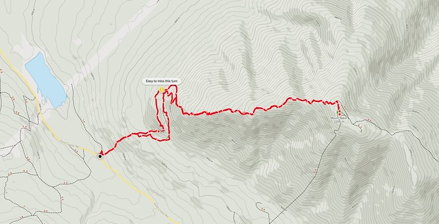 Our Mount Baker (near Cranbrook BC) summit hike GPS track on a 2D topo