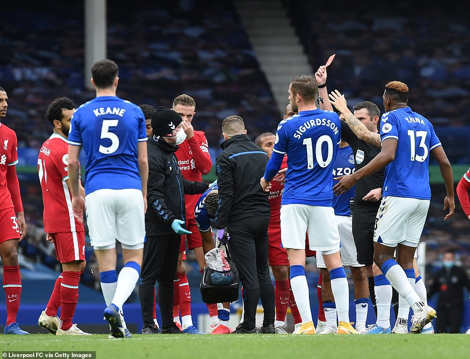 Referee Michael Oliver sent Richarlison off after the Brazilian received treatment for an injury sustained himself in the tackle