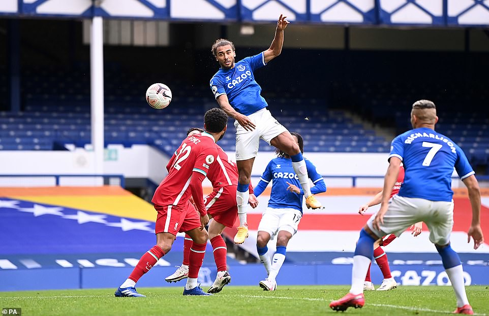 Dominic Calvert-Lewin leaps above the Liverpool defence to level the contest at two apiece and ultimately earn a point