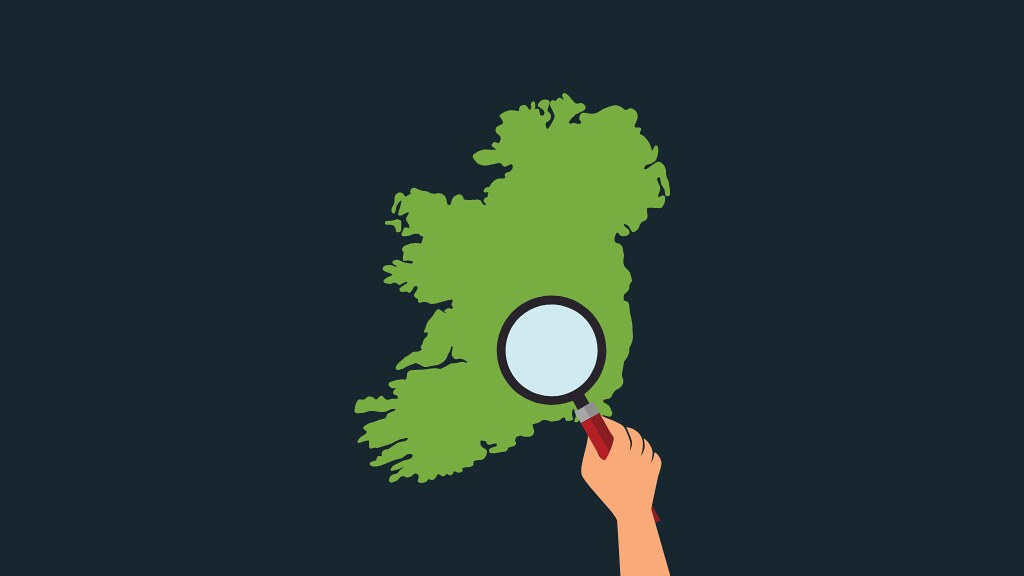 A graphic of Ireland and a magnifying glass