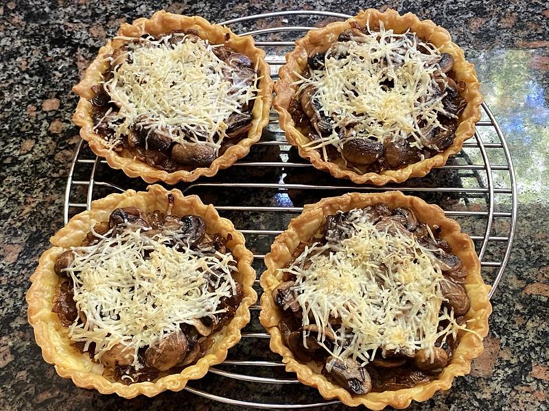 Caramelised shallot and mushroom tarts