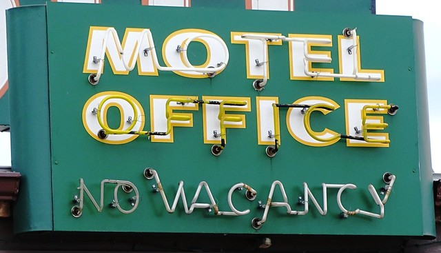 MN, Two Harbors-MN 61 Voyageur Motel Office Neon Sign