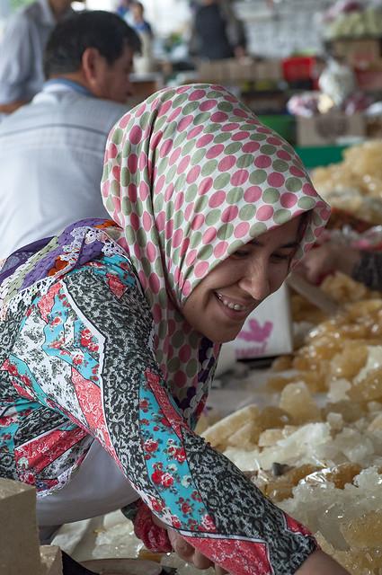 smiling seller